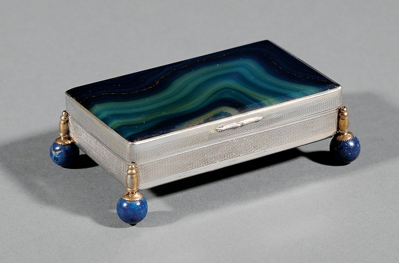 Continental Silver-Mounted Blue Agate Box