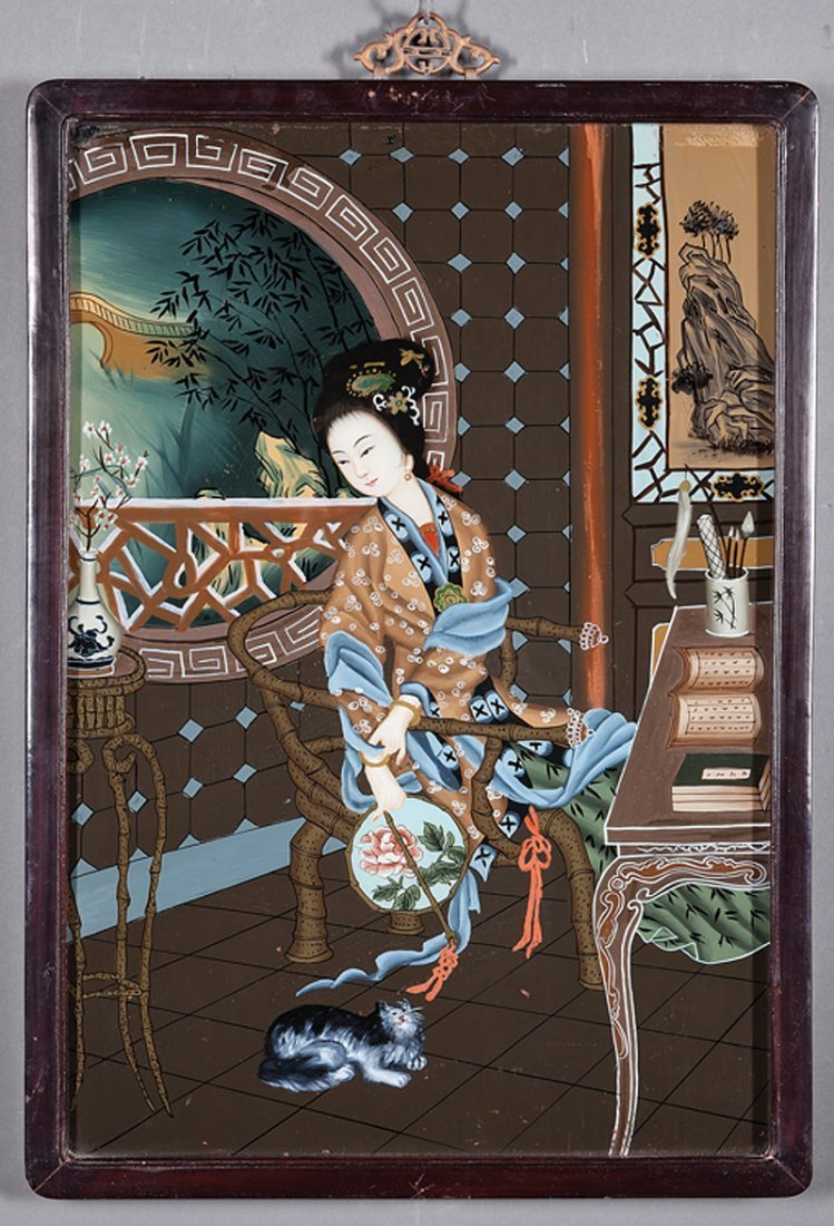 Two Chinese Export Reverse Glass Paintings