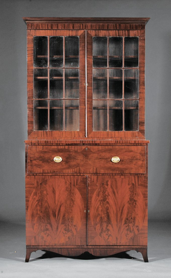 Carved Mahogany Bookcase and Collector's Cabinet