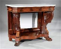 American Classical Carved Mahogany Pier Table