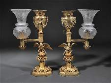 Gilt Bronze Argand Lamps Messenger