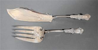 Whiting Sterling Silver Fish Serving Knife & Fork