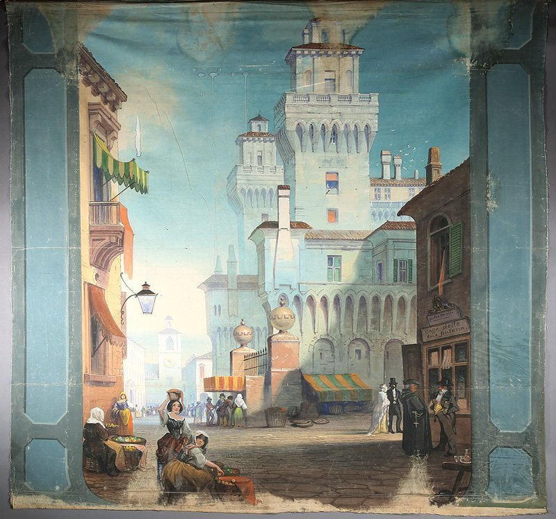 Hand-Painted Theatre Backdrop of an Italian Town