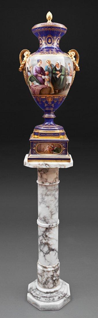 Franz Dörfl Polychrome Porcelain Covered Urn