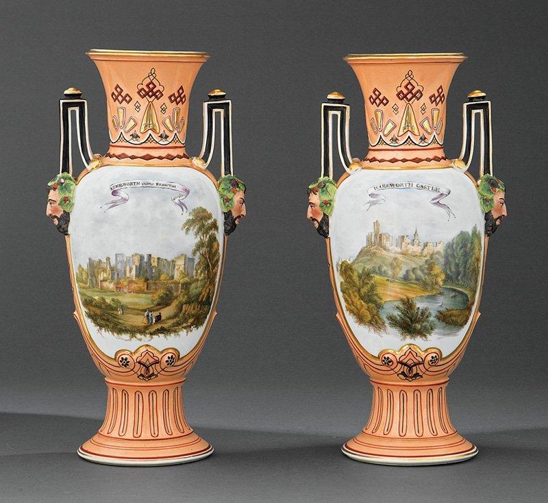 Paris Polychrome, Bisque Porcelain Amphora Vases