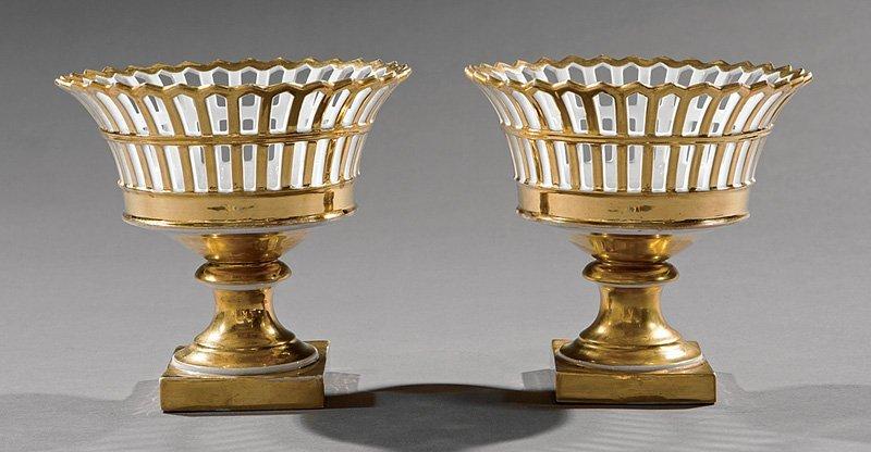 Pair of Paris Porcelain Corbeilles