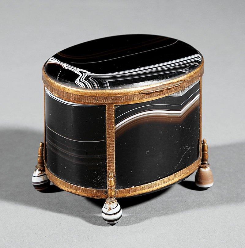 Gilt Bronze-Mounted Brown Agate Dresser Box