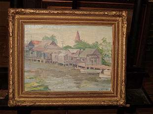 "Louisiana School, 20th c ., ""Buck Town Near Lake"
