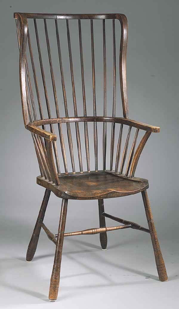 0004: Labeled Antique Yewwood High Back Windsor Chair,