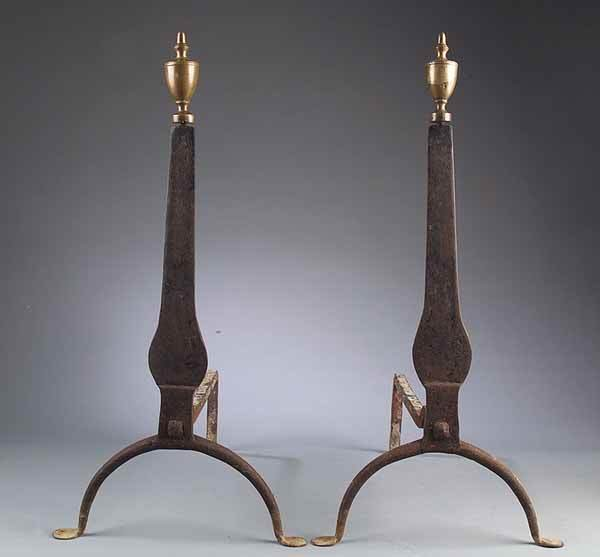0008: Pair of American Federal Brass and Wrought Iron A