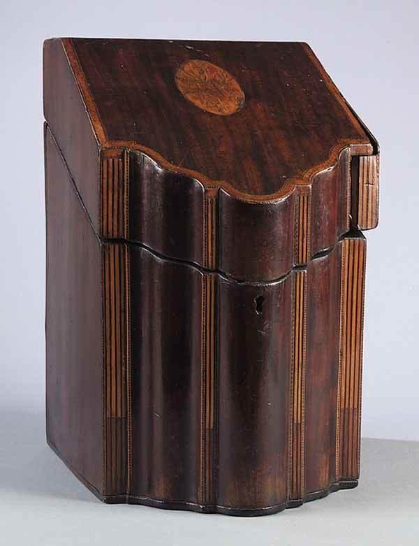 0012: George III Mahogany Inlaid Knife Box