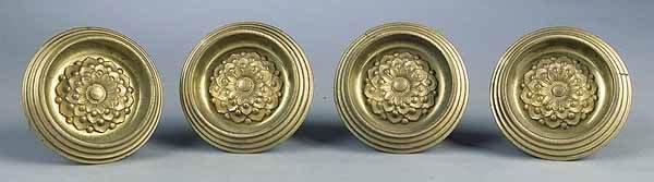 0013: Set of Four Victorian Gilt Brass Drapery Tie-Back