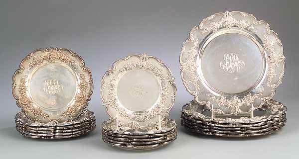 0014: Set of American Sterling Silver Plates, Redlich &