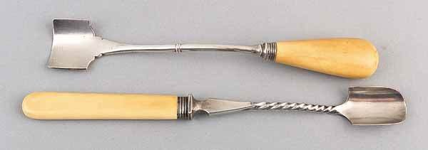 0020: George III Sterling Silver and Ivory Cheese Scop,