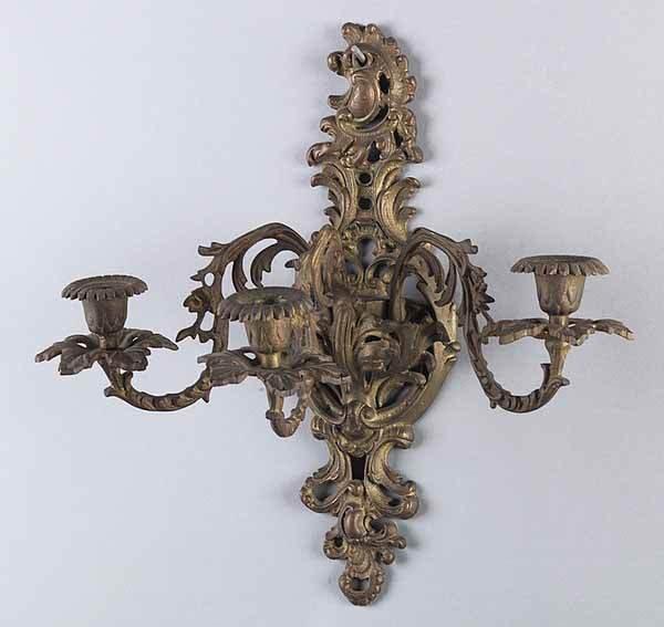 0024: Pair of Antique Louis XV-Style Gilt Bronze 3 ligh
