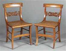 Fine Pair of American Federal Tiger Maple Side Ch