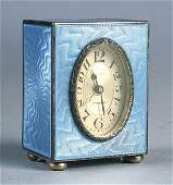 0259 French 835 Silver and Guilloche Enamel Desk Cloc