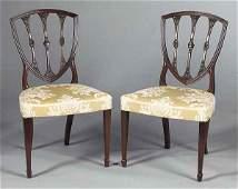 0370 Pair of George III Carved Mahogany Shieldback Cha
