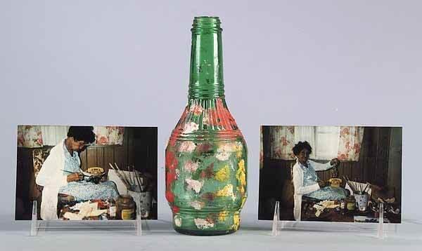 0650: Clementine Hunter, Louisiana, painted bottle