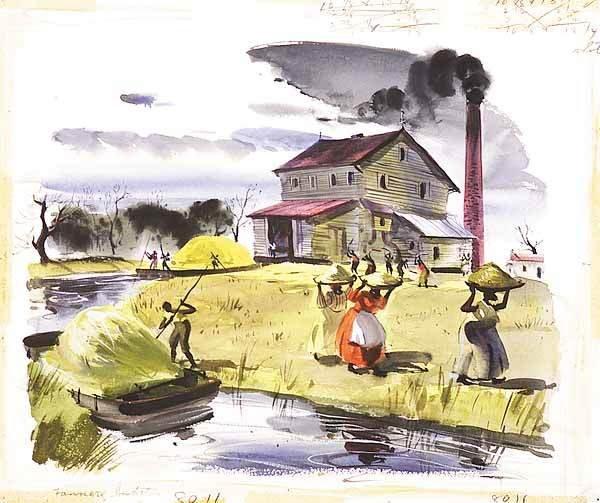 0654: American Illustration Art, Plantation Mill, water