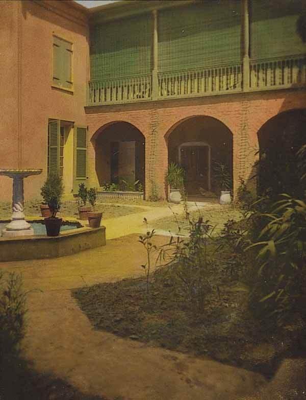 0658: Louisiana Hand-Tinted Photograph of a Courtyard,