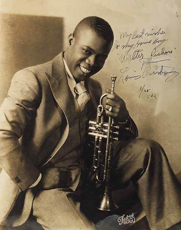 0662: LOUIS ARMSTRONG, vintage photograph, inscribed