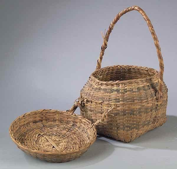 0663: Palmetto Stem Choctaw Basket, Indian