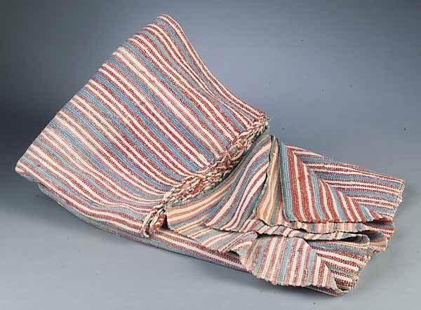 0667: Acadian Homespun Indigo and Mulberry Striped Blan