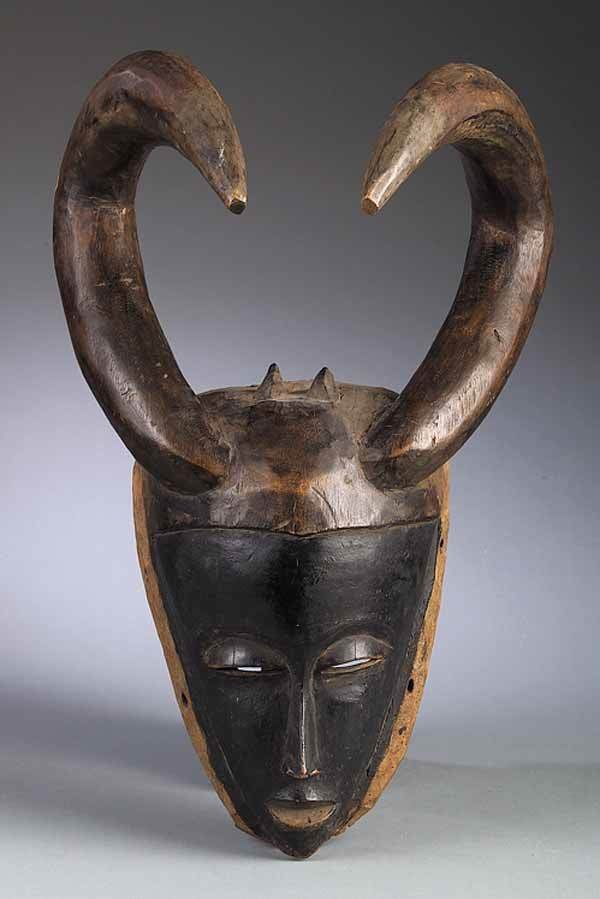 0710: Guro Artist, Ivory Coast, Wooden Mask with Horns