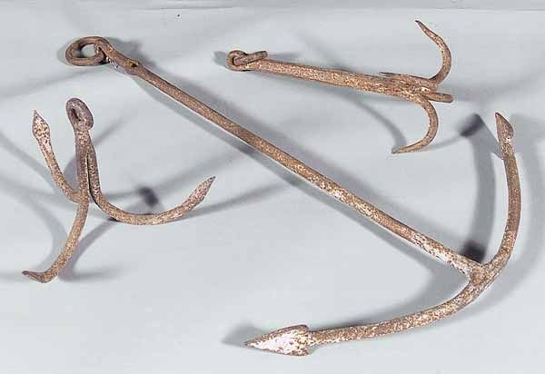 669A: Three Antique Hand Wrought Iron Anchors