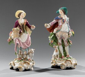 Polychrome And Gilt Porcelain Bocage Figures
