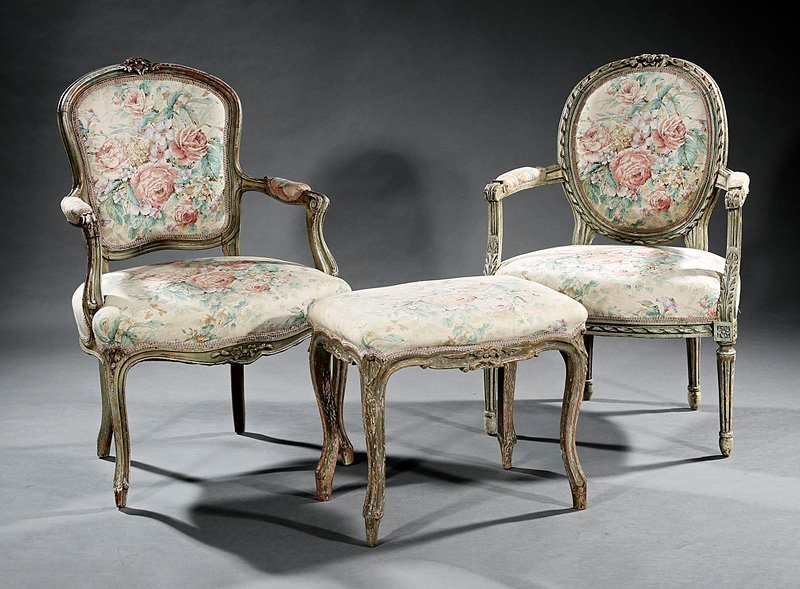 Carved and Gris de Trianon Fauteuils and Stool