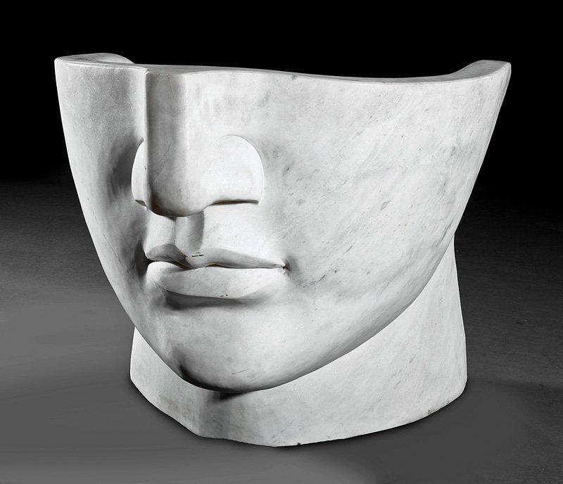 Pair of Art Moderne Marble Figural Bergeres
