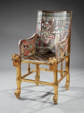 Parcel Gilt, Polychrome And Inlaid Armchair