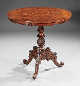Italian Parquetry, Walnut And Fruitwood Tea Table