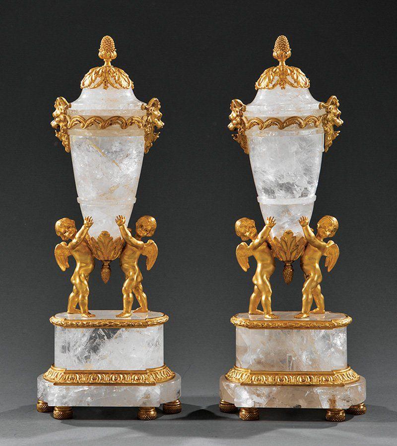 Gilt Bronze-Mounted Rock Crystal Covered Urns