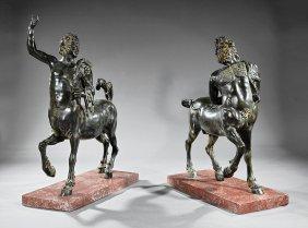 Pair Of Patinated Bronze Centaurs