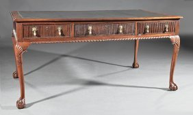 George Iii-style Carved Mahogany Partner's Desk