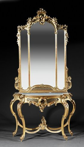 Carved And Gilded Console And Mirror