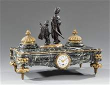 BronzeMounted Marble Figural Clock Inkwell