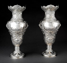 Pair Of Continental .925 Silver Repousse Vases