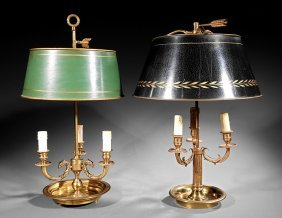 Two Brass And Tole Three-light Bouillotte Lamps