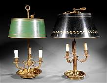 Two Brass and Tole ThreeLight Bouillotte Lamps