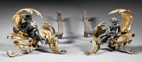 Gilt And Patinated Figural Chenets