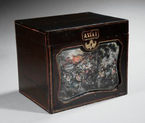 Chinese Export Painted Glass, Lacquer Tea Caddy
