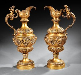 Pair Of Louis Xvi-style Gilt Bronze Ewers