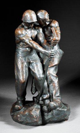 "Continental Bronze Figural ""two Laborers"""