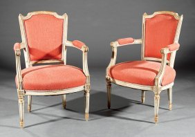 Pair Of Louis Xvi-style Painted Armchairs