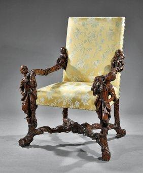 Italian Renaissance-style Carved Walnut Armchair