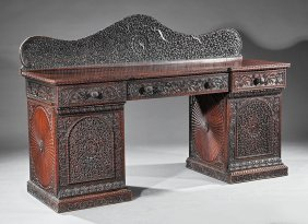Anglo/indian Carved Hardwood Sideboard